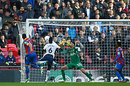 Paulo Gazzaniga , the goalkeeper of Tottenham Hotspur © makes a close range save to deny Luka Milivojevic of Crystal Palace (L) header. Premier league match, Tottenham Hotspur v Crystal Palace at Wembley Stadium in London on Sunday 5th November 2017.<br /> pic by Steffan Bowen, Andrew Orchard sports photography.