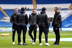 Leicester City's Jamie Vardy (centre) before the match