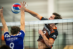 Duco Krook of Vocasa, Mathijs Apine of Talent Team in action during the first league match in the corona lockdown between Talentteam Papendal vs. Vocasa on January 13, 2021 in Ede.