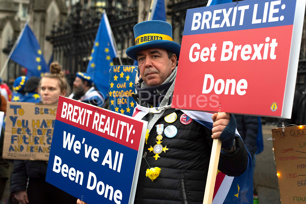 The day before Brexit Day, Steve Bray and pro remain supporters from campaign group Sodem, gather for a party to celebrate being part of the European Union, outside the Houses of Parliament in Parliament Square, Westminster, on 30th January 2020, in London, England, United Kingdom. The United Kingdom will leave the European Union formally at 23:00 GMT on 31st January, 2020.