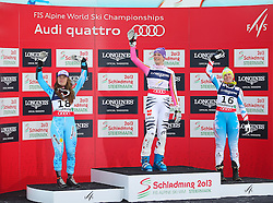 08.02.2013, Planai, Schladming, AUT, FIS Weltmeisterschaften Ski Alpin, Super Kombination, Slalom, Siegerpraesentation, im Bild ina Maze (SLO, 2. Platz), Maria Hoefl-Riesch (GER, 1. Platz), Nicole Hosp (AUT, 3. Platz) // 2nd place Tina Maze of Slovenia, 1st place Maria Hoefl-Riesch of Germany, 3rd place Nicole Hosp of Austria on Winners Presentation after Ladies Super Combined Slalom at the FIS Ski World Championships 2013 at the Planai Course, Schladming, Austria on 2013/02/08. EXPA Pictures © 2013, PhotoCredit: EXPA/ Sammy Minkoff