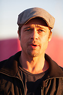 Brad Pitt at site of lower 9th ward Make It Right site with  anchor Lucy Bustamante with Fox 8 in New Orleans.