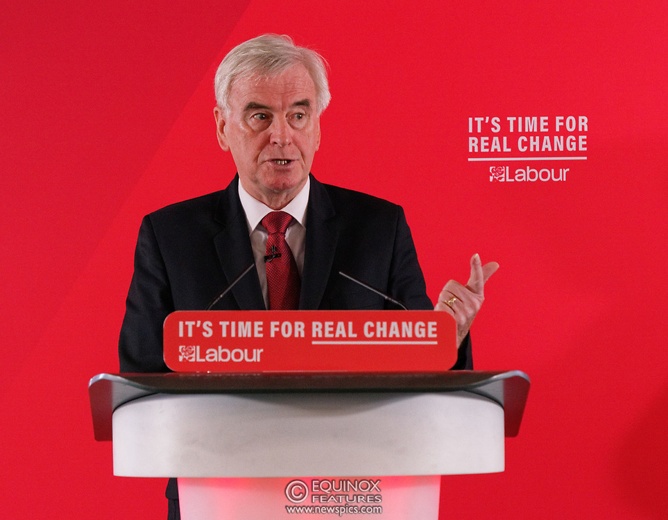 London, United Kingdom - 9 December 2019<br /> John McDonnell gives an economics speech in the run up to the general election 2019, on behalf of the Labour Party at Coin Street Community Builders, London, England, UK.<br /> (photo by: EQUINOXFEATURES.COM)<br /> Picture Data:<br /> Photographer: Equinox Features<br /> Copyright: ©2019 Equinox Licensing Ltd. +443700 780000<br /> Contact: Equinox Features<br /> Date Taken: 20191209<br /> Time Taken: 11421505<br /> www.newspics.com