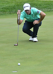 July 14, 2018 - Silvis, Illinois, U.S. - SILVIS, IL - JULY 14:  Keith Mitchell sets up his putt on the #1 green during the third round of the John Deere Classic on July 14, 2018, at TPC Deere Run in Silvis, IL.  (Photo by Keith Gillett/Icon Sportswire) (Credit Image: © Keith Gillett/Icon SMI via ZUMA Press)