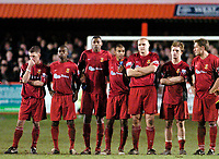 Photo: Leigh Quinnell.<br /> Tamworth v Stoke City. The FA Cup. 17/01/2006. Members of the Tamworth team can't stand the presure of the penalty shoot out.