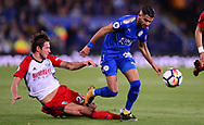 Riyad Mahrez of Leicester city is tackled by Grzegorz Krychowiak of West Bromwich Albion .Premier league match, Leicester City v West Bromwich Albion at the King Power Stadium in Leicester, Leicestershire on Monday 16th October 2017.<br /> pic by Bradley Collyer, Andrew Orchard sports photography.