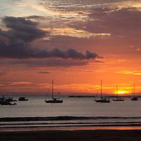 Central America, Nicaragua, San Juan del Sur. Sunset at San Juan del Sur Harbor.