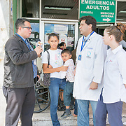 CAPTION: Dr González and his team work extremely hard to raise awareness throughout the nation. They try to make sure that any parent of a Honduran child born with a cleft, no matter where s/he lives in the country, knows they can come to Hospital Escuela for top quality cleft care from friendly and caring professionals. LOCATION: Hospital Escuela, Tegucigalpa, Honduras. INDIVIDUAL(S) PHOTOGRAPHED: From left to right: Unknown, Wendy Gomez, Anner Lenin Gutierrez, Dr Luis González and Shannon Lambert.