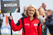 The grid girl of Adam MORGAN Mac Tools with Ciceley Motorsport before Round 23 of the Kwik Fit British Touring Car Championship at Knockhill Racing Circuit, Dunfermline, Scotland on 15 September 2019.
