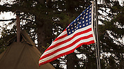 USA, Oregon, Astoria, Ft. Stevens State Park, 48 star US Flag, WWII living history encapment.