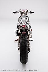 """ShoGun"", a Japanese art engraved Honda CB550 cafe racer built by Bryan Fuller of Fuller Moto in Atlanta, GA. Photographed by Michael Lichter in Sturgis, SD on July 31, 2016. ©2016 Michael Lichter."