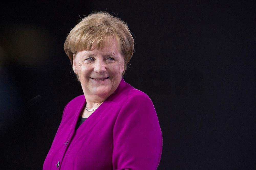 26 FEB 2018, BERLIN/GERMANY:<br /> Angela Merkel, CDU, Bundeskanzlerin, waehrend der Eroeffnung des Parteitages, CDU Bundesparteitag, Station Berlin<br /> IMAGE: 20180226-01-038<br /> KEYWORDS: Party Congress, Parteitag