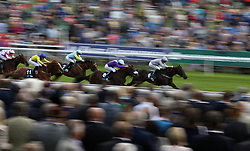 Commanding Officer ridden by Daniel Tudhope wins the British Stallion Studs EBF Convivial Maiden Stakesn during Coolmore Nunthorpe Day of the Yorkshire Ebor Festival at York Racecourse.