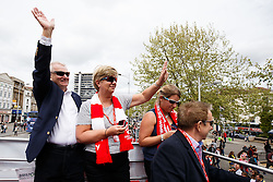 Majority Shareholder Steve Lansdown and his wife Maggie greet fans during the Bristol City open top bus parade to celebrate winning both the League 1 and Johnstone's Paint Trophy titles this season and promotion to the Championship - Photo mandatory by-line: Rogan Thomson/JMP - 07966 386802 - 04/05/2015 - SPORT - FOOTBALL - Bristol, England - Bristol City Bus Parade.