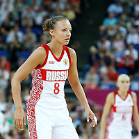 09 August 2012: Russia Alena Danilochkina is seen on defense during 81-64 Team France victory over Team Russia, during the women's basketball semi-finals, at the 02 Arena, in London, Great Britain.