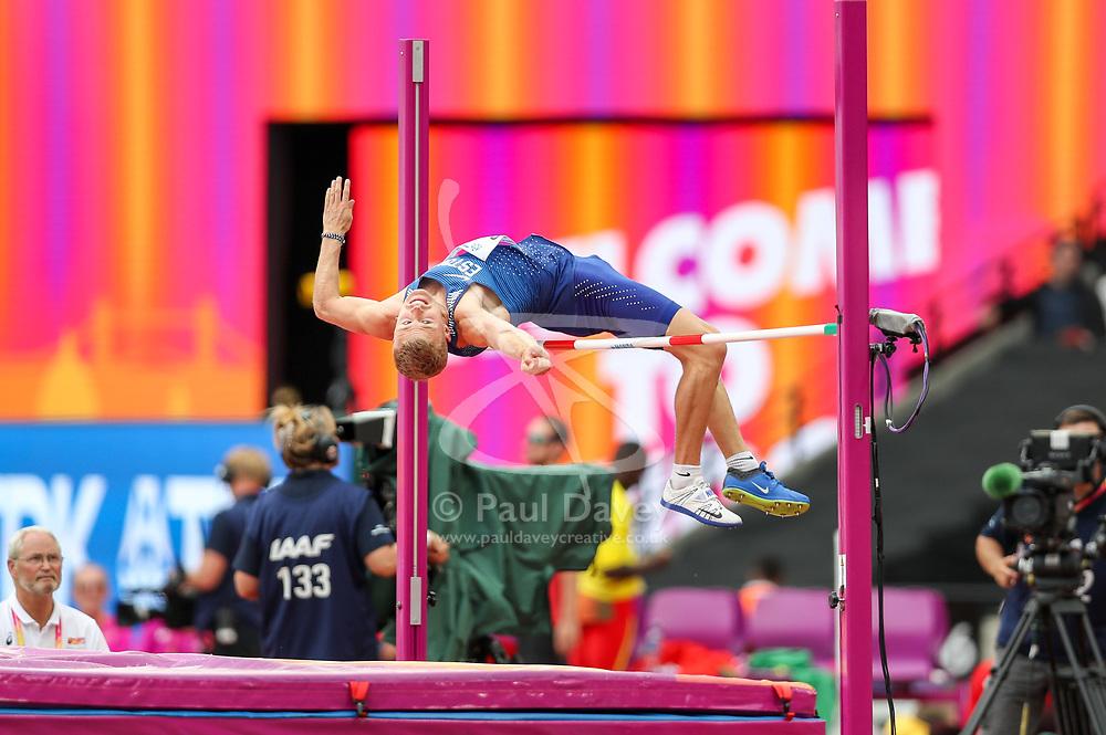 London, August 11 2017 . Janek Õiglane, Estonia, in the men's decathlon high jump on day eight of the IAAF London 2017 world Championships at the London Stadium. © Paul Davey.