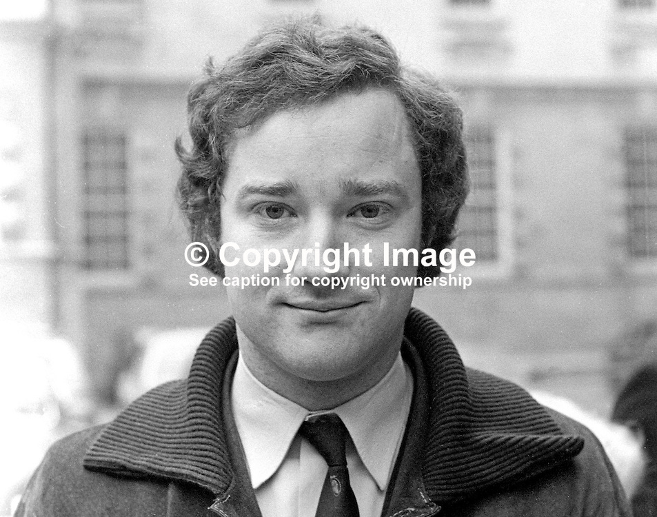 David Smyth, candidate, Pro-Assembly Ulster Unionist, North Belfast, UK General Election, February 1974. 197402000120<br /> <br /> Copyright Image from Victor Patterson, Belfast, UK<br /> <br /> t: +44 28 9066 1296 (from Rep of Ireland 048 9066 1296)<br /> m: +44 7802 353836<br /> e: victorpattersonbelfast@gmail.com<br /> <br /> www.images4media.com<br /> <br /> Please see my full Terms and Conditions of Use at https://www.images4media.com/p/terms-conditions - it is IMPORTANT that you familiarise yourself with them.<br /> <br /> Images used online incur an additional cost. This cost should be agreed in writing in advance. Online images must be visibly watermarked i.e. © Victor Patterson or that of the named photographer within the body of the image. The original metadata must not be deleted from images used online.<br /> <br /> This image is only available for the use of the download recipient i.e. television station, newspaper, magazine, book publisher, etc, and must not be passed on to a third party. It is also downloaded on condition that each and every usage is notified within 7 days to victorpattersonbelfast@gmail.com.<br /> <br /> The right of Victor Patterson (or the named photographer) to be identified as the author is asserted in accordance with The Copyright Designs And Patents Act (1988). All moral rights are asserted.