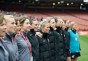 New Zealand Football Ferns during the anthem - SAN FRANCISCO, CA - October 27, 2013:  The US Women's National Team vs New Zealand match in Candlestick Park in San Francisco, CA. Final score US Women's National Team 4, New Zealand 1.