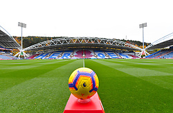 """General view of the matchday ball on the pitch ahead of the Premier League match at the John Smith's Stadium, Huddersfield. PRESS ASSOCIATION Photo. Picture date: Saturday November 10, 2018. See PA story SOCCER Huddersfield. Photo credit should read: Dave Howarth/PA Wire. RESTRICTIONS: EDITORIAL USE ONLY No use with unauthorised audio, video, data, fixture lists, club/league logos or """"live"""" services. Online in-match use limited to 120 images, no video emulation. No use in betting, games or single club/league/player publications."""