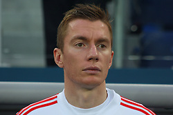 March 27, 2018 - Saint-Petersburg, Russia - Russian Federation. Saint-Petersburg. Arena Saint-Petersburg. Zenit-Arena. Football. Russia - France, Friendly match 1: 3. The football World Cup. The player of national team of Russia on football..Andrey Semenov; (Credit Image: © Russian Look via ZUMA Wire)