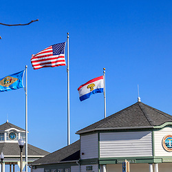 Rehoboth Beach, DE, USA - March 11, 2012: Flags flying in Rehoboth Beach, elaware