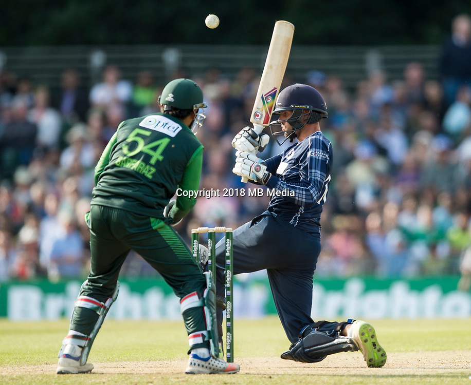 EDINBURGH, SCOTLAND - JUNE 12: Calum MacLeod out for 12 lbw by Shadab Khan in the first of 2 Twenty20 Internationals at the Grange Cricket Club on June 12, 2018 in Edinburgh, Scotland. (Photo by MB Media/Getty Images)