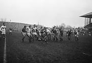 J E Owen, England, kicks for touch under pressure,..Irish Rugby Football Union, Ireland v England, Five Nations, Landsdowne Road, Dublin, Ireland, Saturday 9th February, 1963,.9.2.1963, 2.9.1963,..Referee- H B Laidlaw, Scottish Rugby Union, ..Score- Ireland 0 - 0 England, ..Irish Team, ..B D E Marshall, Wearing number 15 Irish jersey, Full Back, Queens University Rugby Football Club, Belfast, Northern Ireland,..W R Hunter, Wearing number 14 Irish jersey, Right Wing, C I Y M S Rugby Football Club, Belfast, Northern Ireland, ..J C Walsh,  Wearing number 13 Irish jersey, Right Centre, University college Cork Football Club, Cork, Ireland,..P J Casey, Wearing number 12 Irish jersey, Left Centre, University College Dublin Rugby Football Club, Dublin, Ireland, ..N H Brophy, Wearing number 11 Irish jersey, Left wing, Blackrock College Rugby Football Club, Dublin, Ireland, ..M A English, Wearing number 10 Irish jersey, Stand Off, Landsdowne Rugby Football Club, Dublin, Ireland, ..J C Kelly, Wearing number 9 Irish jersey, Scrum Half, University College Dublin Rugby Football Club, Dublin, Ireland,..R J McLoughlin, Wearing number 1 Irish jersey, Forward, Blackrock College Rugby Football Club, Dublin, Ireland, ..A R Dawson, Wearing number 2 Irish jersey, Forward, Wanderers Rugby Football Club, Dublin, Ireland, ..S Millar, Wearing number 3 Irish jersey, Forward, Ballymena Rugby Football Club, Antrim, Northern Ireland,..W A Mulcahy, Wearing number 5 Irish jersey, Captain of the Irish team, Forward, Bective Rangers Rugby Football Club, Dublin, Ireland,  ..W J McBride, Wearing number 5 Irish jersey, Forward, Ballymena Rugby Football Club, Antrim, Northern Ireland,..E P McGuire, Wearing number 6 Irish jersey, Forward, University college Galway Football Club, Galway, Ireland,..C J Dick, Wearing number 8 Irish jersey, Forward, Ballymena Rugby Football Club, Antrim, Northern Ireland,..M D Kiely, Wearing number 7 Irish jersey, Forward, Landsdowne Rugby Football Club, Dublin, Ireland, ..E