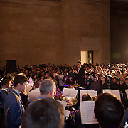Jeremy Deller's Acid Brass featuring Fairey Brass Band in the Duveen Galleries.  The brass band plays a set of old classic acid tracks live to a wild audience. Late at Tate Britain. A free evening of performance and installations from Warp Records and Jeremy Deller, inspired by Deller's work 'The History of the World'.
