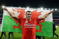 Gareth Bale of Wales celebrates qualifying for the European Championships 2016 - Mandatory byline: Dougie Allward/JMP - 07966 386802 - 13/10/2015 - FOOTBALL - Cardiff City Stadium - Cardiff, Wales - Wales v Andorra - European Qualifier 2016 - Group B