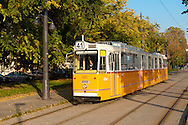 Traditional yellow Budapest Tram, Hungary .<br /> <br /> Visit our HUNGARY HISTORIC PLACES PHOTO COLLECTIONS for more photos to download or buy as wall art prints https://funkystock.photoshelter.com/gallery-collection/Pictures-Images-of-Hungary-Photos-of-Hungarian-Historic-Landmark-Sites/C0000Te8AnPgxjRg