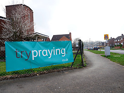 Try praying sign outside a church, Reading, UK 2021