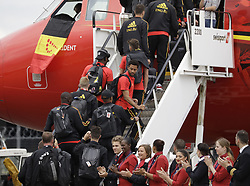 June 13, 2018 - Zaventem, BELGIUM - Belgium's Mousa Dembele gets in the special plane of Brussels Airlines called 'the Trident' with Belgian flag colours and pictures of players at the departure of the Belgian national soccer team Red Devils, Wednesday 13 June 2018, in Zaventem airport. The Red Devils flight to Moscow today for the FIFA World Cup 2018...BELGA PHOTO THIERRY ROGE (Credit Image: © Thierry Roge/Belga via ZUMA Press)