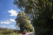 A few remaining trees stand on one side of Harvil Road on 29th July 2020 in Harefield, United Kingdom. Activists based at a series of wildlife protection camps have been attempting to disrupt the felling of many thousands of trees in the Colne Valley for the HS2 high-speed rail project.