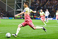 Manchester City midfielder David Silva goes for goal during the EFL Cup match between Preston North End and Manchester City at Deepdale, Preston, England on 24 September 2019.