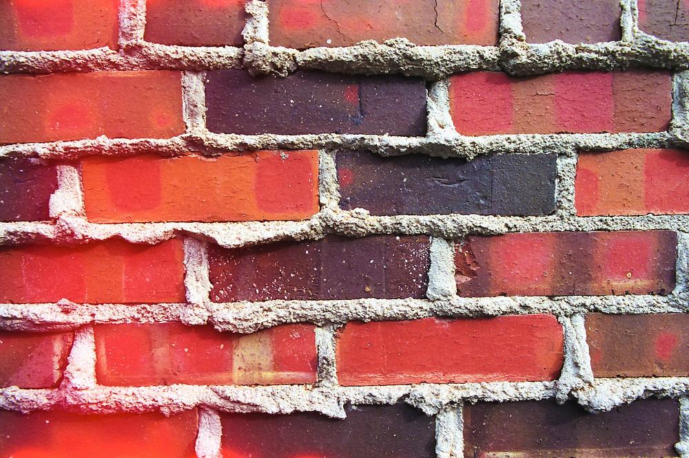 Red brick wall, University of Colorado, Boulder, Colorado.
