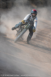 Josh Owens racing in the Sons of Speed vintage race series at the Full Throttle Saloon during the 78th annual Sturgis Motorcycle Rally. Sturgis, SD. USA. Thursday August 9, 2018. Photography ©2018 Michael Lichter.