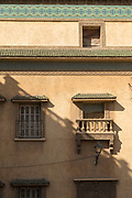 Architectural detail with windows in Casablanca, Morocco