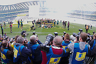 Picture by Andrew Tobin/Focus Images Ltd +44 7710 761829.25/05/2013. Photographers take pictures of Leicester as they cleebrate beating Northampton during the Aviva Premiership match at Twickenham Stadium, Twickenham.