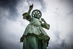 After two months of restoration, the Statue of Archangel Michael, made of copper plate, returned to Piran. The image shows a view of the statue of Archangel Michael before helicopter placing it on top of the church's clock, on October 15, 2018 in Piran, Slovenia. Photo by Matic Klansek Velej / Sportida