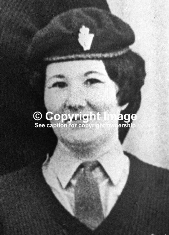 Gillian Liggett, 33 years, married, 2 children, native of Leominster, England, and a member of the UDR, Ulster Defence Regiment, who was shot dead in a Provisional IRA ambush in South Armagh on 6th April 1976. She had previously been in Women's Royal Army Corps. 197604060192A.<br /> <br /> <br /> Copyright Image from Victor Patterson, Belfast, UK<br /> <br /> t: +44 28 9066 1296 (from Rep of Ireland 048 9066 1296)<br /> m: +44 7802 353836<br /> e: victorpattersonbelfast@gmail.com<br /> <br /> www.images4media.com<br /> <br /> Please see my full Terms and Conditions of Use at https://www.images4media.com/p/terms-conditions - it is IMPORTANT that you familiarise yourself with them.<br /> <br /> Images used online incur an additional cost. This cost should be agreed in writing in advance. Online images must be visibly watermarked i.e. © Victor Patterson or that of the named photographer within the body of the image. The original metadata must not be deleted from images used online.<br /> <br /> This image is only available for the use of the download recipient i.e. television station, newspaper, magazine, book publisher, etc, and must not be passed on to a third party. It is also downloaded on condition that each and every usage is notified within 7 days to victorpattersonbelfast@gmail.com.<br /> <br /> The right of Victor Patterson (or the named photographer) to be identified as the author is asserted in accordance with The Copyright Designs And Patents Act (1988). All moral rights are asserted.