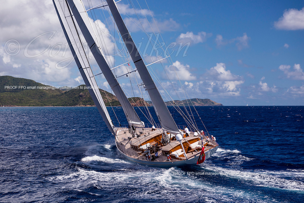 Aerial photo of sailing yacht Elfje, a 152 foot ketch built by Royal Huisman, designed by Hoek Design and Redman Whiteley Dixon.