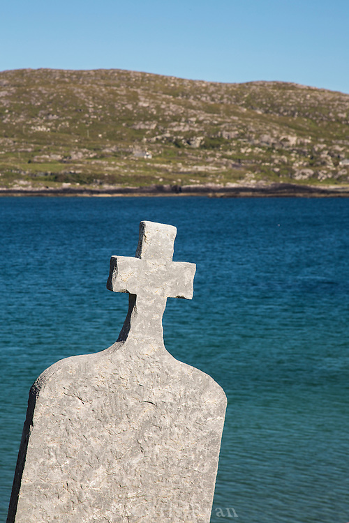 Tombstone and chapel ruins on Abbey Island, Derrynane, County Kerry, Ireland