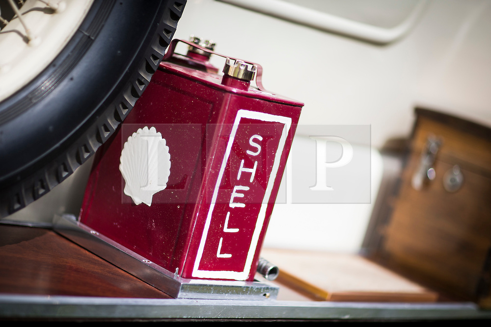© Licensed to London News Pictures. 07/08/2016. Leeds UK. Picture shows the spare fuel tank of a 2025 Rolls Royce at the 37th Rolls Royce North rally that has taken place this weekend in the ground's of Harewood House in Yorkshire. The event bring's together some of the UK's most prized motor cars & their proud owners. Photo credit: Andrew McCaren/LNP