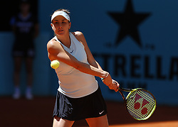 May 9, 2019 - Madrid, Madrid, Spain - Belinda Bencic of Switzerland seen in action against Naomi Osaka of Japan during day six of the Mutua Madrid Open at La Caja Magica in Madrid, Spain. (Credit Image: © Manu Reino/SOPA Images via ZUMA Wire)