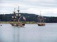The Lady Washington and the Hawaiian Chiefton in the Bay.