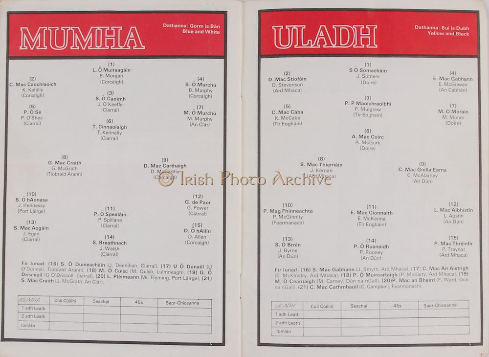Interprovincial Railway Cup Football Cup Final, 27.03.1978, 03.27.1978, 27th March 1978,Ulster 2-07, Munster 2-07, Football Team Ulster, D Stevenson, K McCabe, J Kernan, J Somers, P Mulgrew, A McGurk, E McGowan, M Moran, C McAlarney, P McGinnity, J Byrne, E McKenna, P Rooney, L Austin, P Traynor, J Smyth, C McKinstry, P Moriarty, F Ward, C Campbell, Football Team Munster, K Kehilly, P O'Shea, G McGrath, B Morgan, J O'Keeffe, T Kennelly, B Murphy, M Murphy, D McCarthy, J Hennessy, J Egan, P Spillane, J Walsh, G Power, D Allen, J Deenihan, U O'Donnell, M Quish, G O'Driscoll, W Fleming, J McGrath,  ...