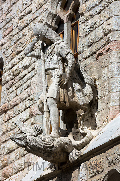 Stone statue at Casa Espana building in Leon, Castilla y Leon, Spain