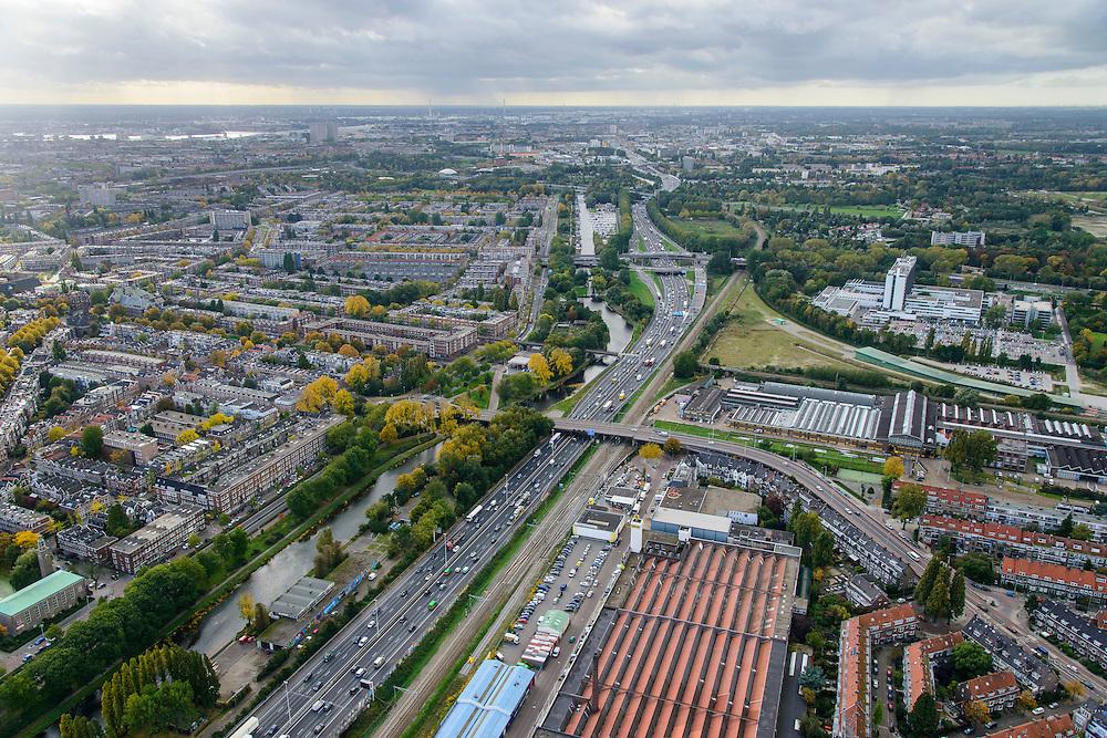 Nederland, Zuid-Holland, Rotterdam, 23-10-2013; Ruit van Rotterdam, A20, ter hoogte van Hillegersberg.<br /> North Rotterdam. residential area and mototway A20.<br /> luchtfoto (toeslag op standaard tarieven);<br /> aerial photo (additional fee required);<br /> copyright foto/photo Siebe Swart.