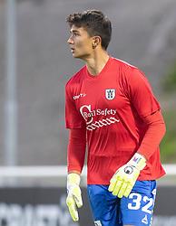 Målmand Kevin Ray Mendoza (Vendsyssel FF) måtte stille op i en lånt trøje fra FC Helsingør, under kampen i 1. Division mellem FC Helsingør og Vendsyssel FF den 18. september 2020 på Helsingør Stadion (Foto: Claus Birch).