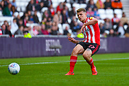 Max Power of Sunderland (27) passes the ball during the EFL Sky Bet League 1 first leg Play Off match between Sunderland and Portsmouth at the Stadium Of Light, Sunderland, England on 11 May 2019.